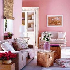 Pink and White - Interior Color Trend 2013 For Cozy Living Room
