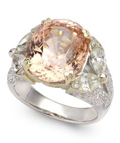 Rose Gold Sapphire and White Diamond Ring! See exceptional engagement rings and wedding jewelry on Gem Shopping Network Item #192-4930817 12.75 ct Padparadscha Sapphire & 1.87 ctw Diamond 18K White Gold 12.50gr Ring CGL Lab Report Size 7.00
