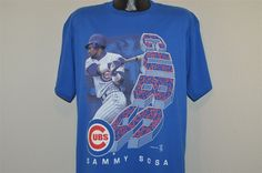 vintage 90s CHICAGO CUBS SAMMY SOSA HOME RUN KING BLUE t-shirt BASEBALL LARGE L
