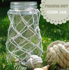 Creative in Chicago: a decorating blog: Fishing net decorated jar