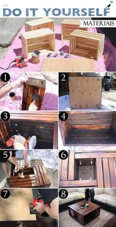 Quem diria que objetos simples do seu dia-dia podem se transformar em lindos móveis de decoração!? Aprenda a fazer uma mesa de centro com caixotes.