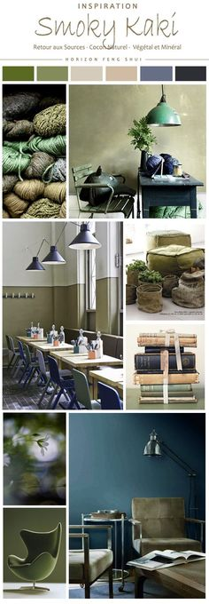 smoky khaki color feng shui trends deco nature plants emerald green blue wood nude vintage flea market Source by Smoky Kaki, Couleur Feng Shui, Color Inspiration, Interior Inspiration, Interior Design Living Room, Interior Decorating, Living Colors, Feng Shui Bedroom, Deco Nature