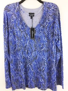New Apt. 9 Womens L Soft Cashmere Blend Sweater Blue Snake Animal Pullover Top #Apt9 #VNeck