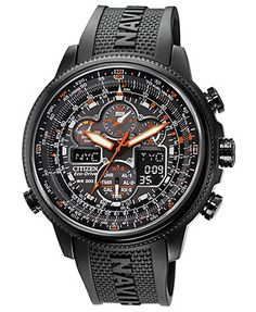 Citizen Men's Eco-Drive Navihawk A-T Black Polyurethane Strap Watch 48mm JY8035-04E