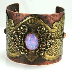Vintage Bohemian Gypsy Style Cuff with Crown Bezel Set Czech Fire Opal Glass Cabochon on Etsy, $180.00