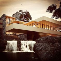 Fallingwater or Kaufmann Residence is a house designed by architect Frank Lloyd Wright in 1935