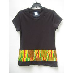 T-Shirt Striped T Shirt African Print Striped T Shirt Kente Striped T... (£18) ❤ liked on Polyvore featuring tops, t-shirts, black, women's clothing, black t shirt, stripe t shirt, black striped t shirt, black striped tee and black tee