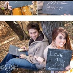 These pictures are so cute!  Chalk board, write down what you love about him/her!  so sweet and personal!