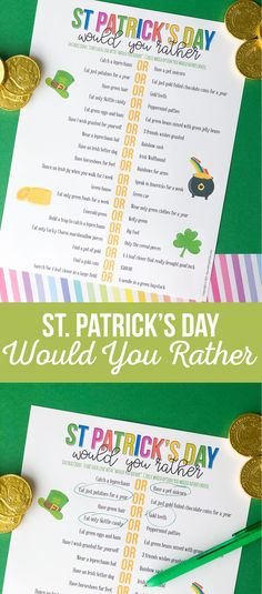 Our St. Patrick's Day Would You Rather will make you think and cause some laughter as you answer the ridiculous questions! #stpatricksday #Stpatricksprintables #printablesforkids Diy And Crafts Sewing, Diy Crafts For Kids, Halloween Christmas, Halloween Kids, Would You Rather, Craft Party, Jelly Beans, Party Printables, St Patricks Day