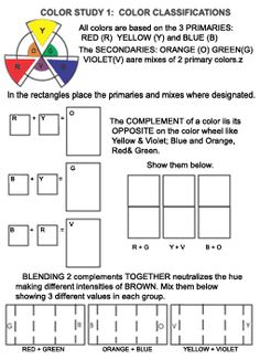 study sheet one - series of teaching color theory activities