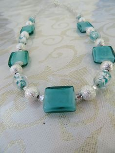 Turquoise green/silver necklace by JewelInfinityBeyond on Etsy