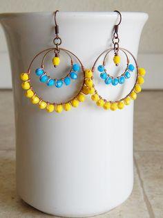 Beaded Hoop earrings gypsy Chandelier earrings by AJBcreations, $28.00