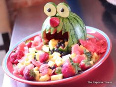 Fruit monster--mini watermelon, cut out 'scary' teeth, put on plate, surround with fruit, attach strawberry nose and apple/blueberry eyes with toothpicks.