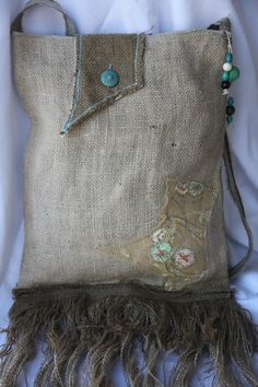 Burlap bag: love the burlap and the patch and creativity.  Not so sure about the fringe, tho...