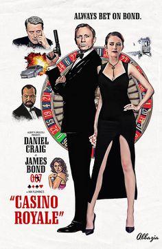 Retro James Bond poster by Abbazia Famous Movie Posters, James Bond Movie Posters, Classic Movie Posters, James Bond Movies, Famous Movies, Classic Movies, Film Posters, James Bond Casino Royale, Casino Royale Movie