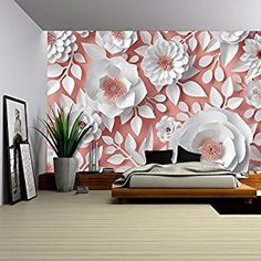 wall26 - Illustration - 3d Render, Digital Illustration, White Paper Flowers, Bridal Bouquet - Removable Wall Mural | Self-adhesive Large Wallpaper - 100x144 inches - - Amazon.com