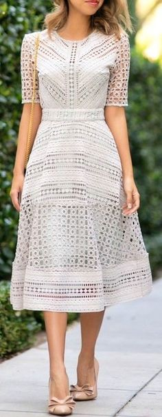 #summer #outfits / white eyelet dress