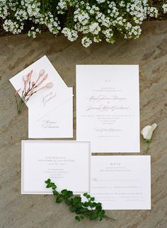 Classic white invitation suite: Photography : Erin Hearts Court | Photography : The de Jaureguis (formally Erin Hearts Court) Read More on SMP: http://www.stylemepretty.com/california-weddings/los-gatos/2016/05/05/this-classic-forest-wedding-is-a-must-see/