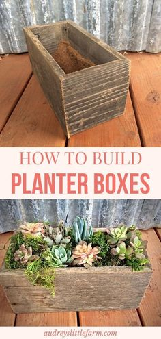 Learn how to easily build your own barnwood planter box. It's a quick and easy DIY project and they are the perfect planters for succulents or your favorite flower. Click the article to learn step by step how to build the wooden planter. Diy Projects On A Budget, Farm Projects, Diy Garden Projects, Garden Tips, Building Planter Boxes, Square Planter Boxes, Diy Wooden Planters, Wooden Diy, Succulent Planter Diy