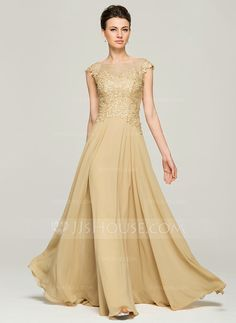 A-Line/Princess Scoop Neck Floor-Length Chiffon Lace Mother of the Bride Dress With Beading Sequins (008062561)