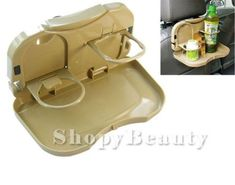 Car-Seat-Foldable-Food-and-Drink-Tray-Cup-Holder-Car-Restaurant-BEIGE-Plastic