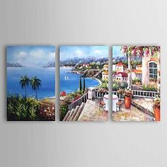 Hand-painted Landscape Oil Painting with Stretched Frame - Set of 3 – CAD $ 217.79