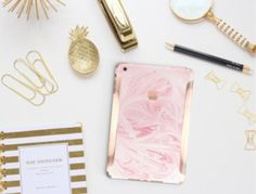 Pink and Marble Office Supplies and Accessories