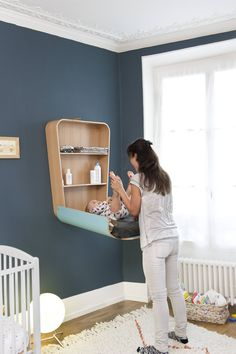 Crane Wickeltisch klappbar Modell - -Charlie Crane Wickeltisch klappbar Modell - - For more information visit our website quartos de bebê dos famosos Komodo Wall Changing Table Baby Bedroom, Baby Boy Rooms, Baby Room Decor, Kids Bedroom, Nursery Decor, Nursery Ideas, Bedroom Ideas, Baby Room Colors, Room Baby