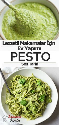 Vegan Pesto Recipe, oil free and made with cashews for a cheesy, buttery flavor!Easy Vegan Pesto Recipe, oil free and made with cashews for a cheesy, buttery flavor! Vegan Sauces, Raw Vegan Recipes, Vegan Foods, Vegan Dishes, Vegan Vegetarian, Vegetarian Recipes, Healthy Recipes, Vegan Recipes With Lemon Juice, Vegan Raw