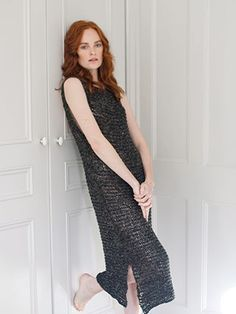 JOHANNA DRESS  from Rowan Selects Stone Washed (ZB215) Featuring 8 designs for women using NEW YARN! Rowan Selects Stone Washed. This on trend collection for Wool and the Gang supports our new denim inspired tape yarn. The collection features quick knit vests, ribbed sweater and dresses with simple textures suitable for the less experienced knitter | English Yarns