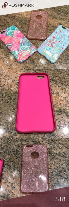 Iphone 6s cases. Lilly Pulitzer and Shimmer 3 iphone 6s cases. 2 Lilly Pulitzer and 1 pink shimmer. Excellent condition. Blue Lilly case sides slightly discolored. No longer needed since upgrade 📱 📱 💓 Lilly Pulitzer Accessories Phone Cases
