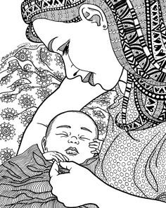 FINALLY - Coloring Page - Motherhood Series Zentangle Method Line Art Decorative Doodle Illustration Birth Baby Child Mother Kate Holloman Doodle Art Drawing, Mandala Drawing, Art Drawings Sketches, Pencil Art Drawings, Baby Coloring Pages, Fairy Coloring, Colouring, Coloring Book, Adult Coloring