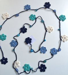 Blue shades flowers Turkish style beaded crochet necklace