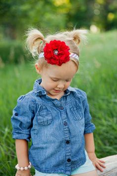 Rainbow Red Flower Headband-Chiffon Flower-Rainbow Red Flower Hair Clip-Baby Accessories-Kid Accessories-Red Chiffon Flower Headband-Red on Etsy, $7.00