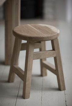 Raw Light Oak Small Stool - Modish Living: The beauty of Raw Wood Wooden Kitchen Stools, Small Wooden Stool, Small Stool, Kitchen Seating, Wooden Chairs, Leather Bar Stools, Leather Dining Chairs, Counter Bar Stools, Low Stool