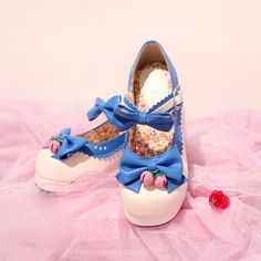 3c05909116d7 Lolita Bowknot Strawberry Bell Heels Japanese Lace Cos Shoes MG529. Mori  Girl