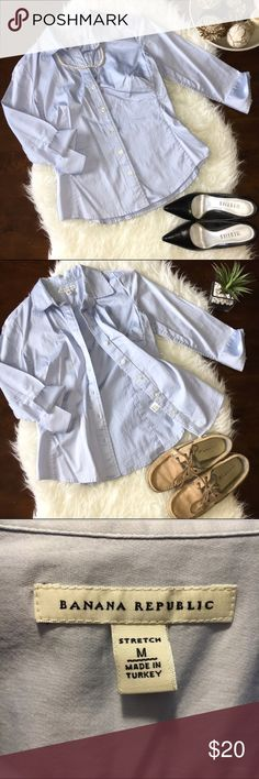 Banana Republic Button Down So soft and lightweight 3/4 sleeve button down shirt from Banana Republic. Material has stretch to it but is still structured and chic. Color is a versatile light blue. Great for the office, or with some preppy shorts for summer. No tears, holes, or stains. Smoke free home. No trades please. Banana Republic Tops Button Down Shirts