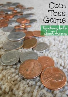 Teaching kids about money can be fun while they& learning. Set up this simple coin toss game that can add learning on a variety of levels. Money Games For Kids, Money Activities, Math For Kids, Activities For Kids, Money Math Games, Counting Activities, Daily Activities, Sensory Activities, Math Resources