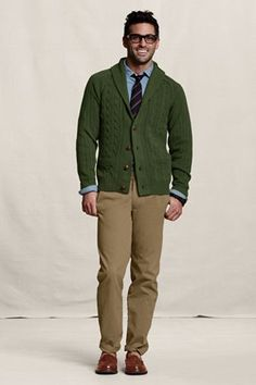 Lands' End Canvas Holiday Look - Men's Cypress Heather Shawl Cardigan. $99.50. A kick-back to the classics, updated for today.