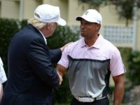 Donald Trump and Tiger Woods at the Tiger Woods Villa prior to the start of the World Golf Championships-Cadillac Championship at Trump National Doral on March 2014 in Doral, Florida. Presidential Duties, Golf Tiger Woods, Great Comebacks, Golf Day, Breitbart News, Jack Nicklaus, Golf Shop, Perfect Sense, News Media
