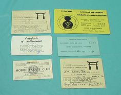Karate Vintage Large Lot 6 Cards Tournaments Tickets Ranks Business Dojo Japan