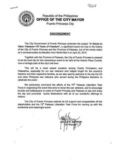 """City Mayor, Lucilo R. Bayron, and the City Government of Puerto Princesa, endorses the momentous event """"A Salute to Valor Palawan Liberation: 70 Years of Freedom.""""  Learn more about the Palawan Liberation here - www.palawanliberation.com  #PalawanLiberation2015 #SalutetoValor #LostPiecesPH"""