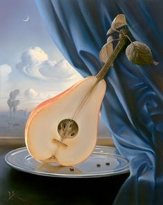 Great color contrast, light blue scenic background, blue drapery and a pear mandolin?...
