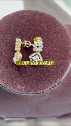 Diamond Studs, Diamond Pendant, Gold Earrings Designs, Gold Designs, Baby Earrings, Pendant Design, Gold Jewelry, Jewellery, Carat Gold