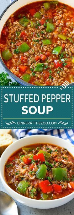 dinneratthezoo stuffed peppers pepper recipe dinner soup beef rice and Stuffed Pepper Soup Recipe Beef and Rice Soup Stuffed PeppersStuffed Pepper Soup Recipe Beef and Rice Soup Stuffed Peppers Healthy Soup Recipes, Yummy Recipes, Slow Cooker Healthy Soup, Heathy Soup, Hot Soup Recipes, Hearty Vegetarian Soup, Canning Soup Recipes, Hearty Meal, Vegetarian Keto