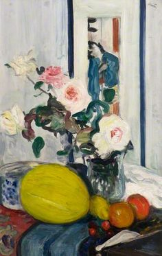 Roses, a Melon and a Japanese Print, c. 1918 by George Leslie Hunter (1877–1931)