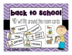 Here are 40 #write around the room cards around the theme 'back to school'.Each card has a picture of the school topic or object and the word. Included are: teacher, tablet, science, scissors, clipboard, ...