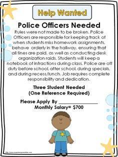 Well hardly going to make a class of `police officers`, but I like the general idea of classroom jobs. Classroom Economy and FREE Help Wanted Signs Classroom Economy System, Classroom Jobs, Classroom Behavior, Classroom Organization, Classroom Management, Future Classroom, Teaching Social Studies, Teaching Resources, Teaching Ideas