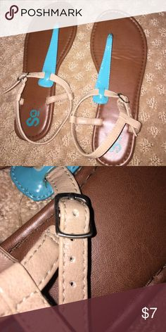 Brown sandals Brown sandals with teal straps Shoes Sandals