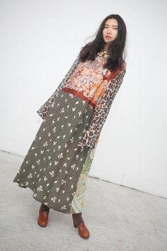 Vintage Scarves Dress in Cranes
